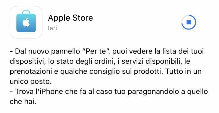 aggiornamento app apple store