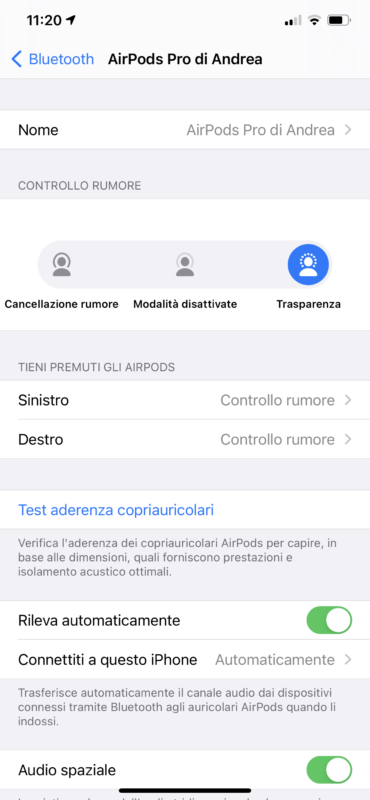 switch automatico airpods