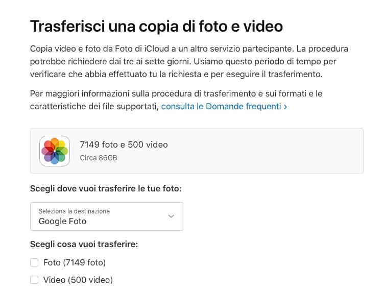 Apple lancia il tool per trasferire foto …